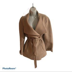 J. Jill Angora Felted Wool Cozy Wrap Coat Camel M